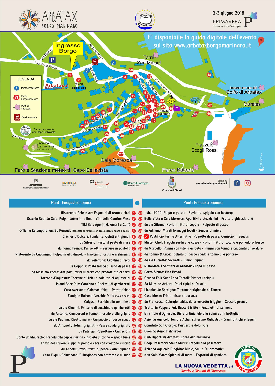Mappa Punti enogastronomici Arbatax Borgo Marinaro