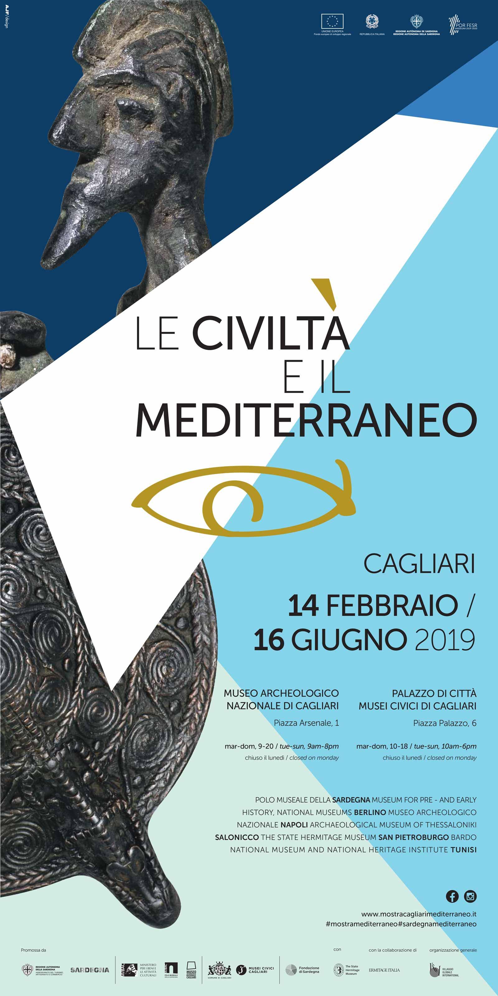 Locandina Mostra Civiltà del Mediterraneo a Cagliari