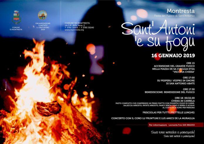 Montresta il 16 Gennaio Sant'Antoni 'e su fogu 2019